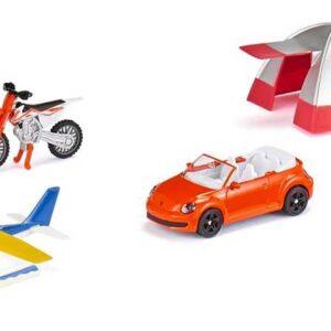 Siku Motorcykel cross, flygplan, bil och tält 6325