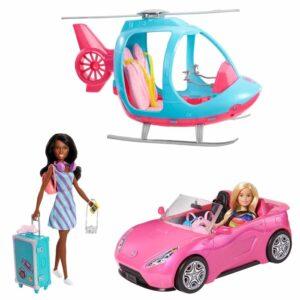 Barbies reseäventyr med bil och helikopter
