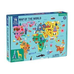 mudpuppy Pussel 78-bitar (Världskarta)