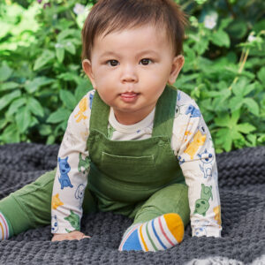 Hängselbyxor i manchester baby grön