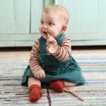 Hängselklänning baby grön