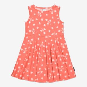 Klänning med jordgubbstryck aprikos
