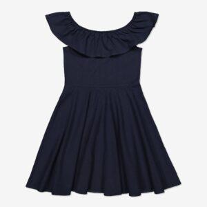 Off shoulder-klänning mörk marinblå