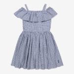 Rutig klänning med volang blå