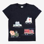 T-shirt med fordonstryck mörk marinblå