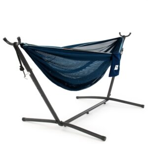 Vivere - Mesh Hammock With Stand (250 Cm) - Navy/Turquoise