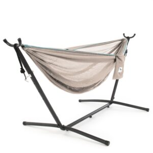 Vivere - Mesh Hammock With Stand (250 Cm) - Sand/Sky