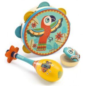 Djeco Instrumentset (Tamburin, Maracas, kastanjett)