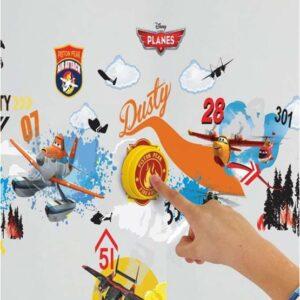 EuroToys Planes - Flygplan Väggklistermärken Och Ringklocka