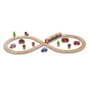 Ever Earth Everearth - Train Track Set Wood 32-Piece