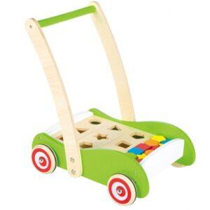 Lelin Toys - Push/Pull Trolley Shapes Junior Wood Grön 3-Part