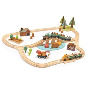 Tender Leaf Toys - Train Set 94 Cm Wood Natural 9-Piece