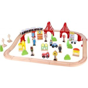 Tooky Toy - Play Set Train Junior 90 X 40 X 12 Cm Wood 55-Piece