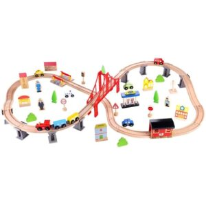 Tooky Toy - Train Set Junior Wood Natural 70-Piece