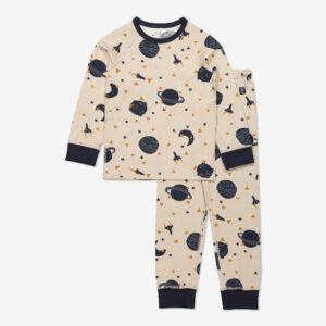 Tvådelad pyjamas med rymdtryck beige