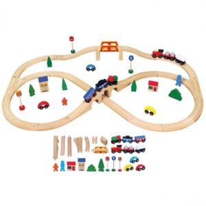 Viga Toys - Train Set Junior 41.5 X 28.5 X 7.5 Cm Wood 40-Piece