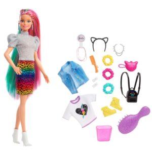 Barbie Leopard rainbow hair Docka