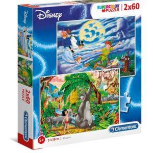 Clementoni Disney Pussel 2x60-bitar (Peter Pan + Djungelboken)