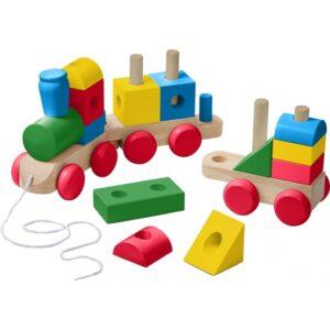 Melissa & Doug - Block Train Jumbo Classic 63,5 Cm Wood 17 Pcs